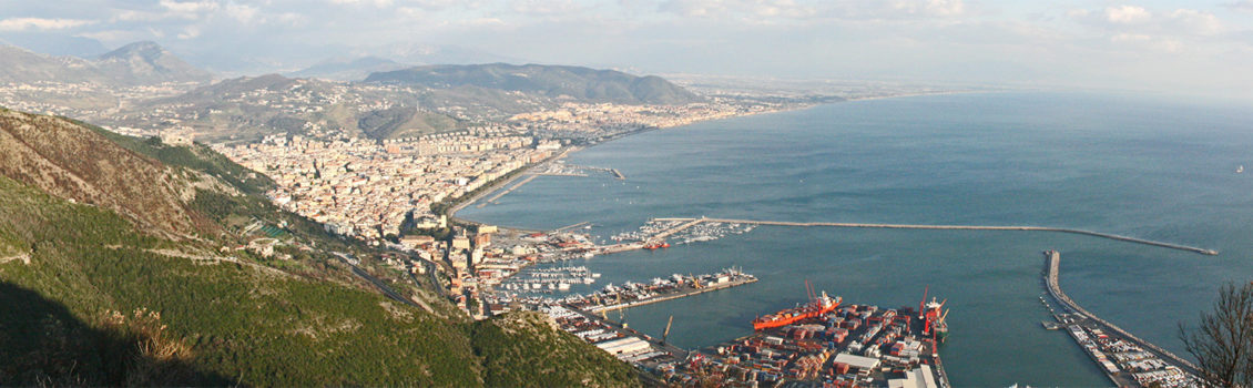 Salerno port and city view
